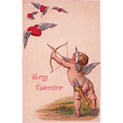 SOLD Antique Unused Valentine Postcard Cupid & Winged Hearts