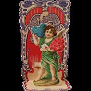 Vintage German Made Angelic Cupid Roses & Hearts