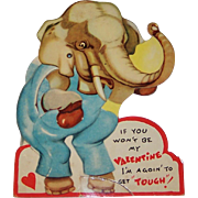 SOLD Vintage Mechanical Boxing Elephant Valentine