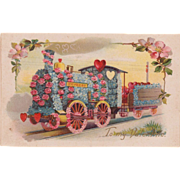 SOLD Antique Valentine Love Train Postcard