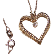 REDUCED Double Heart Pendant Necklace & Crystal Rhinestone