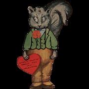 SOLD Vintage Unused Mechanical Nutty Squirrel Valentine