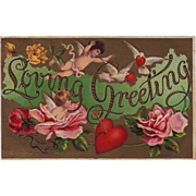 SOLD Antique Loving Cherub  & Cupid Valentine Greeting Postcard