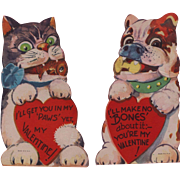 SALE PENDING Two Vintage Valentines: Fierce Cat & Dog Duo