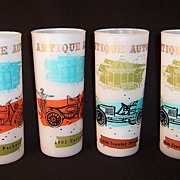 SALE Vintage  Antique Automobile Frosted  Highball Tumblers