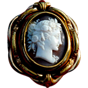 SALE Stunning Large Antique Swivel Carved Cameo Locket Mourning Brooch cir.1850