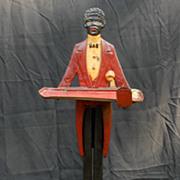 REDUCED Art  Deco Black Americana ,Cigarette Stand  Iron Cast  Butler