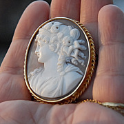 SALE Victorian Shell Gold Filed  Cameo Brooch Hera cir .1870