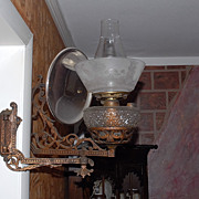 SALE Antique Victorian Kerosene Wall Lamp A &P Risdon,Danbury,CT