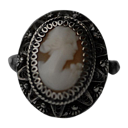Antique Filigree Cameo Silver Ring