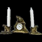 Art  Deco Brass Finish German Parrot Clock