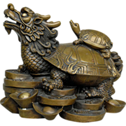Vintage Chinese Dragon Turtle Bronze /Feng Shui