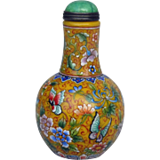 Hand Painted Antique Yellow Snuff Bottle.