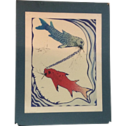 Salvador Dali ,Pisces from Signs of the Zodiac Lithograph Print Penn Inc.1969