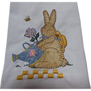 SOLD Kitchen Towel with Bunny Rabbit Applique and Embroidery