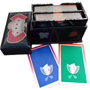 Japanese Black Wood Boxed Bridge Set with Sailor Cards Bridge Games
