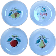 SALE Westmoreland Milk Glass  Fruit Patterned Plates Beaded Edge