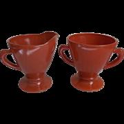 Hazel Atlas Glass Vintage Ovide Sugar Creamer Moderntone Colors Coral Rust