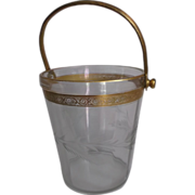 Glass Ice Bucket Pail Gold Wash Metal Handle Etched/Cut Wheat Design