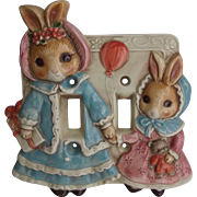Mother and Baby Bunny Rabbits Light Switch Cover Takahashi Japan