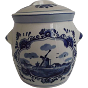 Delft Blue Handpainted Holland Biscuit Cracker Tea Jar Vintage Kitchen Decor