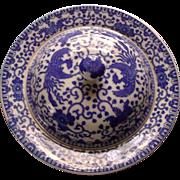 Japan Blue White Porcelain Phoenix Bird Flying Turkey Butter Pancake Dish