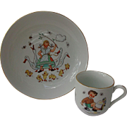 Carl Schumann Arzberg Germany Child's Bowl Cup Porcelain Girl Boy Ducks Birds