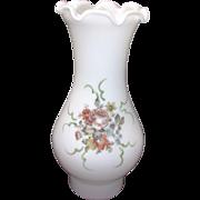 Milk Glass Vintage Floral Chimney Shade Pie Crust Edge Oil Lamp