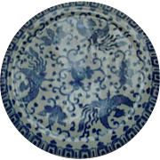Blue White Porcelain Japan Phoenix Bird Flying Turkey Tea Trivet