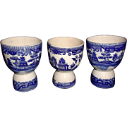 Three Blue Willow Egg Cups Vintage Japan Transferware