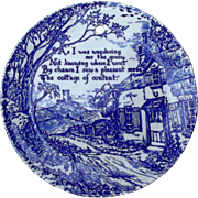SALE Royal Crownford Ironstone Blue White Transfer Plate Cottage Scene Poem