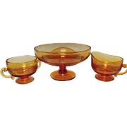 Cambridge Glass Tally Ho Amber Comport Compote Sugar Creamer  Elegant Glassware
