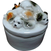Enesco 1980 Puppy Dog Trinket Box Japan Vanity
