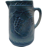 Blue White Salt Glazed Pitcher Grape and Trellis North Star Stoneware circa 1892-1896