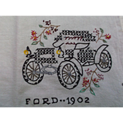 Table Cloth Hand Tea Towel with Embroidered Vintage 1902 Ford Car