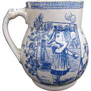 Blue White Transfer Cup Girl Blowing Bubbles Old Hall Earthenware England