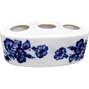 Flow Blue Porcelain Lipstick Holder Flowers Morning Glories Vanity