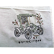Hand Embroidered Towel Tablecloth Cover with a Vintage 1908 Buick Car