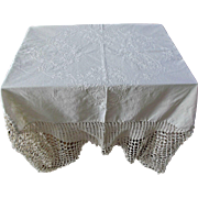Hand Embroidered Tablecloth with Crochet Edge Flowers Vintage Table Cover Linens
