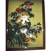 Chinese Reverse Painting On Glass Kittens Cats Playing Flowers Butterflies