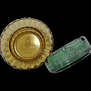 Two Vintage Depression Glass Ashtrays Hotel Tropicana Desert Inn Las Vegas