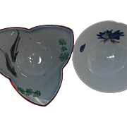 Pair Vintage Oriental Rice Bowls Carp Fish Shells Seaweed Gray White Blue Rust