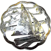 Stavre Gregor Panis Sterling Brooch Pin Vintage Arts Crafts Sailboat Seagulls Waves