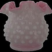 Vintage Fenton Peach Blow Hobnail Vase Pre Logo Crimped Ruffled Edge