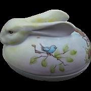 Hand Painted Bunny Rabbit Vintage Porcelain Trinket Candy Box Signed