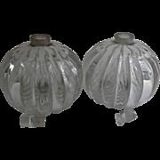Pair Vintage Clear Glass Cologne Perfume Bottles Vanity