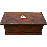 Small Vintage Wood Seaman's Chest Sailboat Rope Handles Trinket Box