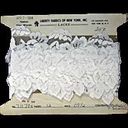 White Vintage Lace Flowers Six Yards on Original Card Dolls Dressmaking