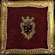 Italian Florentine Vintage Wooden Trinket Box Gold Gilt Appliqued Crest