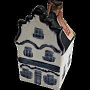 Rynbende Distilleries Holland Blue White House Shaped Vintage Bottle